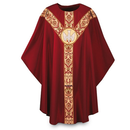 """Chasuble made of dark red Dupion, a knotted yarn dyed fabric of 70% man-made fibers and 30% viscose of 70% man-made fibers and 30% viscose, adorned with a beautiful hand embroidered Holy Spirit emblem on a St. Andrew's Cross orphrey in Regina, a multicolored brocade on front and back. Plain """"0"""" neck finish. Gothic Cut. Standard length is 53""""."""