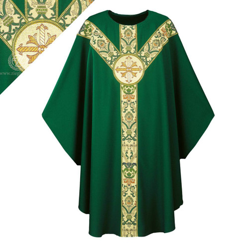 """Chasuble made of dark green Dupion, a knotted yarn dyed fabric of 70% man-made fibers and 30% viscose of 70% man-made fibers and 30% viscose, adorned with a beautiful hand embroidered Cross emblem on a St. Andrew's Cross orphrey in green Regina, a multicolored brocade on front and back. Plain """"0"""" neck finish. Gothic Cut. Standard length is 53""""."""