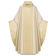 "Chasuble made of Agate, a fabric of 70% polyester and 30% viscose, with woven design creating orphrey on front and back and sleeve edges. Roll collar ""3"" neck finish. Gothic Cut. Comes with an Inside Stole. Standard size is 53"" length x 68"" width. Available here in ecru (off-white). Agate fabric is available in Ecru, Red, Rose, Green, Purple"