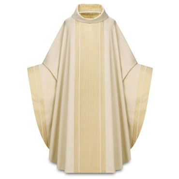 """Chasuble made of Agate, a fabric of 70% polyester and 30% viscose, with woven design creating orphrey on front and back and sleeve edges. Roll collar """"3"""" neck finish. Gothic Cut. Comes with an Inside Stole. Standard size is 53"""" length x 68"""" width. Available here in ecru (off-white). Agate fabric is available in Ecru, Red, Rose, Green, Purple"""