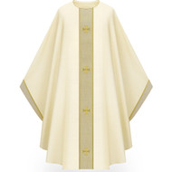 "Chasuble made of white Cantate, a fabric of 99% wool and 1% gold threads. Comes with natural tone bands as applique embroidered with Crosses design creating orphrey and yoke on front and back with applique on sleeve trim. Plain collar ""0"" neck finish. Comes with an Inside Stole. Standard size is 53"" length x 59"" width. Shown and sold here in white. Please inquire 800 523 7604"