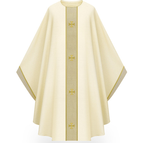"""Chasuble made of white Cantate, a fabric of 99% wool and 1% gold threads. Comes with natural tone bands as applique embroidered with Crosses design creating orphrey and yoke on front and back with applique on sleeve trim. Plain collar """"0"""" neck finish. Comes with an Inside Stole. Standard size is 53"""" length x 59"""" width. Shown and sold here in white. Please inquire 800 523 7604"""
