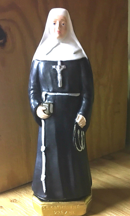 """St. Katherine Drexel is the patron saint of philanthropists and racial justice.  Handpainted 10"""" Statue made in Italy."""