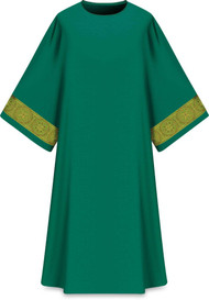 "This dalmatic features a gold patterned vertical orphrey on both sleeves. It comes in Purple, Green Red and Ecru. It is made from Elias fabric and is part of the Assisi series. Elias fabric is 100% polyester and is lightweight and durable.  The Dalmatic measures 53""L x 63""W;. The dalmatic has a plain collar. Please supply your Intitution's Federal ID # as to avoid an import tax. Please allow 3-4 weeks for delivery if item is not in stock as it is shipped from overseas."