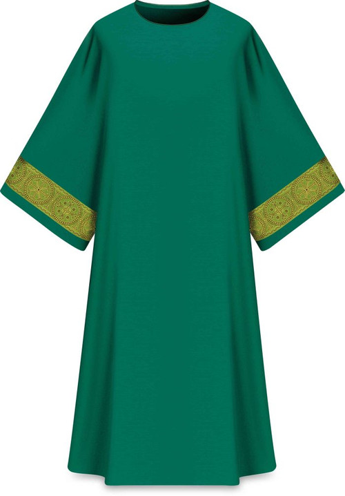"""This dalmatic features a gold patterned vertical orphrey on both sleeves. It comes in Purple, Green Red and Ecru. It is made from Elias fabric and is part of the Assisi series. Elias fabric is 100% polyester and is lightweight and durable.  The Dalmatic measures 53""""L x 63""""W;. The dalmatic has a plain collar. Please supply your Intitution's Federal ID # as to avoid an import tax. Please allow 3-4 weeks for delivery if item is not in stock as it is shipped from overseas."""