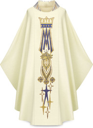 """Hand embroidered chasuble with marian symbol in Cantate fabric (99% wooland 1% lurex). Chasuble width-63"""" and 53"""" Length, with inside stole.  Embroidered stand up collar"""
