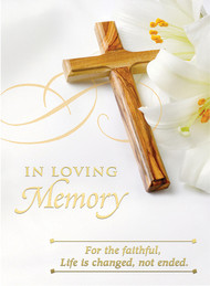 "In Loving Memory Mass Card 4 7/8"" x 6 3/4"" 100 per box (Gold Foil) Inside Verse: The Holy Sacrifice of the Mass will be offered for the repose of the soul of ________ Rev_______(right side) Cross (graphic) With the sympathy of _________ (left side)  Note:  For Church Use Only!"