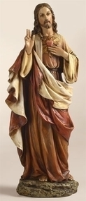 "Sacred Heart of Jesus 10"" Statue. The Sacred Heart of Jesus statue is a resin/stone Mix. The dimensions of the Sacred Heart of Jesus statue are: 10.25""H x 4.25""W x 2.75""D."
