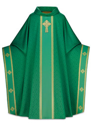 "In Celtic, fabric of 100% man-made fibers. Monastic chasuble, 63"" width, 53"" length with inside stole. Woven banding with hand embroidered cross motif in relieft. 3"" soft roll collar.  Available in  green, beige,  red, purple.  These items are imported from Europe. Please supply your Institution's Federal ID # as to avoid an import tax. Please allow 3-4 weeks for delivery if item is not in stock."