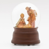 "5.5""H Holy Family Musical Glitter Dome. Plays Silent Night. Resin and glass"