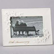 "50th Wedding Anniversary ""Love in Bloom""  Porcelain 5X7 Photo Frame.  This 50th anniversary Photo Frame holds a 4"" x 6"" photo.  Dimensions of the 50th Wedding Anniversary Frame are 8.5""W 6.5""H 0.75""D"