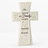 """Tree of Life"" Stone Table Top Cross . The Tree of Life Table Top Cross is made of a resin/stone mix. The words on the table top Tree of Life Cross say: The love of a family is life's greatest blessing"".The dimensions of the cross are: 8""H x 5.5""L. Perfect addition to any household!"