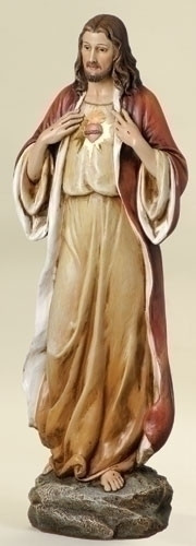 """Sacred Heart of Jesus. Resin/Stone Mix.  Dimensions: 13.75""""H x 5""""W x 4""""D"""