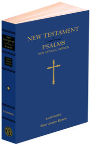 """NCV New Testament and Psalms together in one volume. Both texts are complete and therefore their best and most lauded features remain: readability; copius, well-written, and informative footnotes; cross references; photographs; maps; and the words of Christ in RED. This version is in conformity with the translation guidelines and is intended to be used by Catholics for daily prayer and meditation as well as private devotion and group study. 1232 pages. Size 4 3/8 x 6 3/4"""".  Blue Flexible Cover. (Double color Dura-Lux are also available SKU# 647/19)"""
