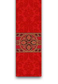 Deacon Stole in Duomo, 100% man-made fibres. In ecru, red, green or purple with beautiful woven galoon. These items are imported from Europe. Please supply your Institution's Federal ID # as to avoid an import tax.  Please allow 3-4 weeks for delivery if item is not in stock.