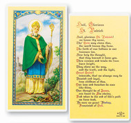 St Patrick Holy Card with the Hail Glorius St. Patrick on the back.  Clear, laminated Italian holy cards with Gold Accents. Features World Famous Fratelli-Bonella Artwork. 2.5'' x 4.5''
