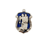 "Sterling Silver St. Michael medal. The St Michael Policeman's Badge medal comes with blue enamel  on a 20"" rhodium chain. Medal measures 1"" X 3/4"". Comes in a deluxe gift box."