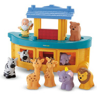 Fisher Price Little People Noah's Ark Play Set. Noah, using all he knew, built himself a floating zoo. Lots of animals, all times too, ready to come and play with you! Includes Noah, two elephants, lions, zebras,  giraffes and more! Deck removes for play inside Noah's Ark, then pops back on for convenient storage. Recommended for children ages 1-4. Easy to clean surface with damp cloth.