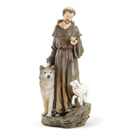 "This 9.75""H St Francis Figure is made of a resin/stone mix.  St Francis is depicted on this statue with a wolf, a lamb and he is holding a bird. The measurements of the St. Francis Figure are 9.75""H x 4.5""W."