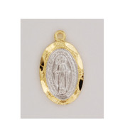"""Gold over Sterling Silver 1/2"""" Miraculous Medal. Miraculous Medal comes on a 16"""" gold plated chain. A deluxe gift box is included."""