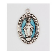 """Sterling Silver 7/8"""" x1/2"""" Miraculous Medal with Blue Epoxy. The Blue Epoxy Miraculous Medal comes on a 18"""" rhodium  plated chain. A deluxe gift box is included."""
