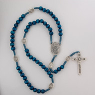Blue wood beads with silver ox crucifix and center. Silver oxidised St  Michael. Plastuc gift box. Made in Italy