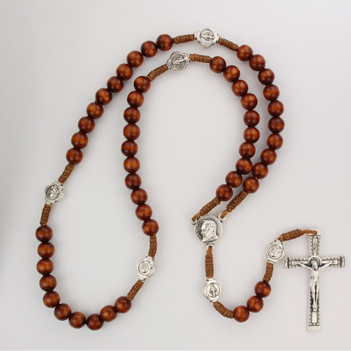 Dark Brown wood beads with silver ox crucifix and center. Silver oxidised St Padre Pio Medal. Plastic gift box. Made in Italy