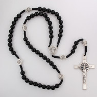 Black wood beads with silver ox crucifix and center. Silver oxidised St Benedict Medal. Plastic gift box. Made in Italy
