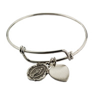 "Adult Faith Bangle. This pewter 2 3/4"" diameter Faith Bangle holds a Miraculous Medal and a Heart charm. the charm can be engraved with 3 initials only for an additional cost."