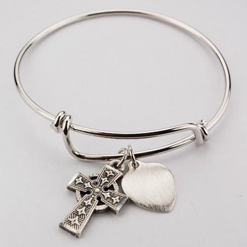 """Adult Faith Bangle. This pewter 2 3/4"""" diameter Faith Bangle holds a Celtic Cross and a Heart charm. The heart charm can be engraved with 3 initials only for an additional cost."""