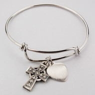 "Adult Faith Bangle. This pewter 2 3/4"" diameter Faith Bangle holds a Celtic Cross and a Heart charm. The heart charm can be engraved with 3 initials only for an additional cost."