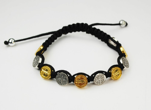 Black Corded silver and gold St Benedict medals bracelet. Adjustable sizes.  Comes carded