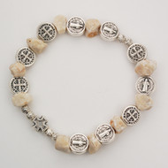 St Benedict Stone Stretch Bracelet. Comes with a St. Benedict booklet. Made in Italy!