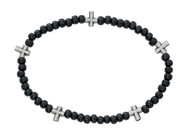 Black Beaded Cross Stretch Bracelet.  Five small medal crosses are attached. Comes carded. Please choose a color when checking out.