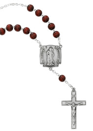 St. Florian Firefighter Auto Rosary. 8MM red wood beads with pewter St Florian center and pewter crucifix. Comes on a hang tag.