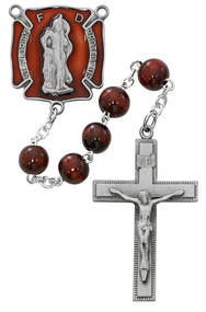 St Florian Firefighters Rosary. 8MM red beads make up this St. Florian Firefighters Rosary. St Florian red enameled centerpiece and crucifix are pewter. Comes in  a deluxe gift box.
