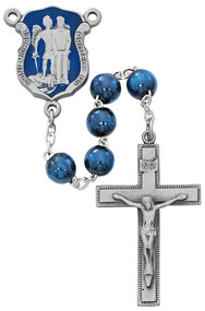 St. Michael Police Dark Blue beads and Enameled Centerpiece Rosary. 8MM dark blue wood beads make up this St. Michael's Police Badge Rosary. St Michael's police badge blue enameled centerpiece and crucifix are pewter. Comes in a deluxe gift box.