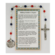 Red, White and Blue beads with Land, Sea, and Air Medal. The chaplet comes with a card on how to pray the chaplet.