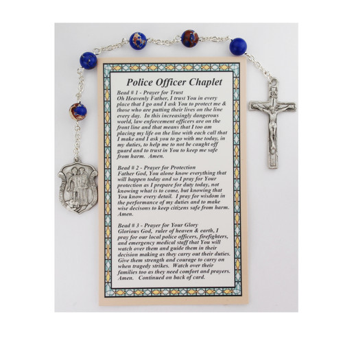 Blue Marbelized beads with St. Michael Police Shield Medal. The chaplet comes with a card on how to pray the chaplet.