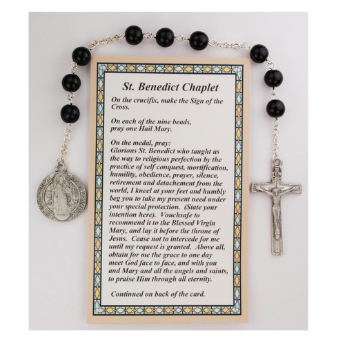 St Benedict Chaplet. Black crystal beads with St. Benedict medal. Comes with a prayer card with how to pray the chaplet. Comes carded.