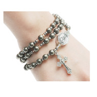 6MM simulated hematite beads make up this full rosary stretch bracelet. The bracelet, when off the wrist is a full rosary to pray on.