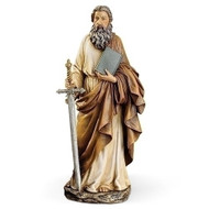 "Saint Paul Statue. Patron Saint of Publishers and Writers. Resin/Stone Mix Dimensions: 10.5""H x 4.75""W x 3""D"