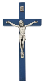 """10""""H Blue  wood crucifix with silver oxidised corpus and INRI. Comes Bagged. Made in the USA"""