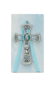 "3  3/4"" Blue Cross shaped pewter Guardian Angel Crib Medal."