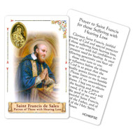 "Prayer to St. Francis de Sales. This beautiful saint prayer card is laminated with gold foil embossed medal design with appropriate prayer on reverse side. Prayer card is made in Milona, Italy. Measures: 2 3/8 x 3 1/2""."