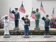 """Male US Military Statues. Show your pride by displaying a United States Armed Forces 27"""" Statue in your home, lawn or patio. Finely crafted with great detail and is of excellent quality to hold up for years of enjoyment. Suited for both cold and warm climates, making this statue perfect for indoor or outdoor use. Available in the 4 military branches: Army, Air Force, Marines and Navy. Statues are available in both genders and also with  light and dark skin tones. Please make selection when ordering.  American Flag is included. Detailed Stain. Approx. Dimensions: 26""""H x B:7""""SQ. Weight: 36lbs."""