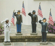 "Female US Military Statues! Show your pride by displaying a United States Armed Forces 27"" Statue in your home, lawn or patio. Finely crafted with great detail and is of excellent quality to hold up for years of enjoyment. Suited for both cold and warm climates, making this statue perfect for indoor or outdoor use. Available in the 4 military branches: Army, Air Force, Marines and Navy. Statues are available in both genders and also with  light and dark skin tones. Please make selection when ordering.  American Flag is included. Detailed Stain. Approx. Dimensions: 26""H x B:7""SQ. Weight: 36lbs."