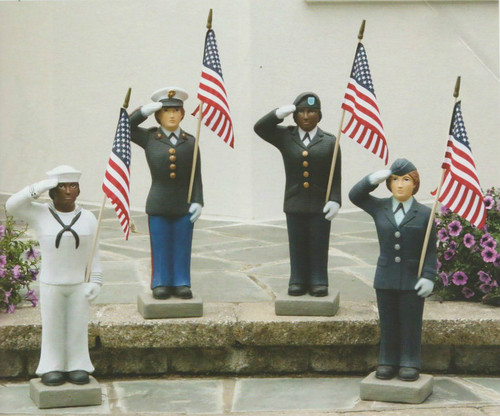 """Female US Military Statues! Show your pride by displaying a United States Armed Forces 27"""" Statue in your home, lawn or patio. Finely crafted with great detail and is of excellent quality to hold up for years of enjoyment. Suited for both cold and warm climates, making this statue perfect for indoor or outdoor use. Available in the 4 military branches: Army, Air Force, Marines and Navy. Statues are available in both genders and also with  light and dark skin tones. Please make selection when ordering.  American Flag is included. Detailed Stain. Statues are hand cast, so please allow 3-4 weeks for delivery. Dimensions: 26""""H x B:7""""SQ. Weight: 36lbs."""
