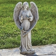 "Beautiful 20""H Indoor or Garden Statue of an Angel with two birds."