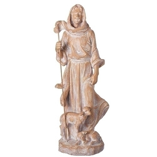 """A simple 18.75""""H statue from the Joseph Studio Collection of Our Lord and his sheep. Made of a resin/stone mix"""